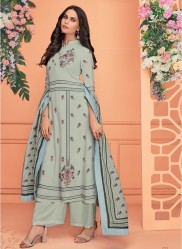 Light Teal Blue Viscose Muslin With Embroidery Readymade Salwar Suit
