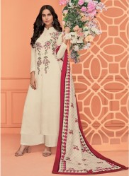 Cream Viscose Muslin With Embroidery Readymade Salwar Suit