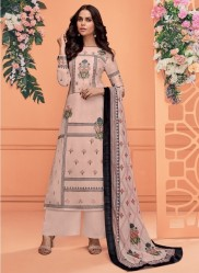 Light Peach Viscose Muslin With Embroidery Readymade Salwar Suit