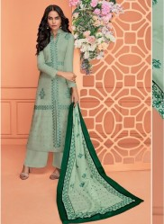 Dark Mint Green Viscose Muslin With Embroidery Readymade Salwar Suit