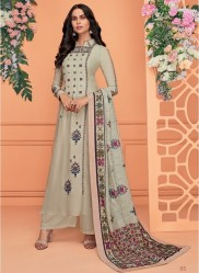 Dark Beige Viscose Muslin With Embroidery Readymade Salwar Suit