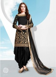 Black Tapeta Silk With Embroidery Real Mirror & Glass Work Salwar Suit