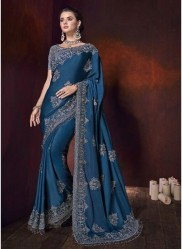 Blue Satin Saree With Zari Moti Heavy Work Wedding Saree