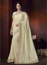 Cream Bemberg With Lucknowi Work Wedding Saree