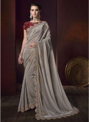 Gray Korean With Heavy Diamond Work Wedding Saree
