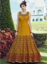 Gusto Gold Heavy Soft Banglori Silk Readymade Gown With Dupatta
