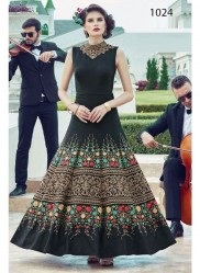 Black Heavy Soft Banglori Silk Readymade Gown With Dupatta