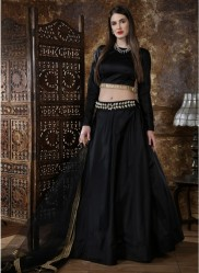 Black Taffeta Satin Silk Lehenga Choli