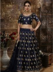 Navy Blue Thai Silk Lehenga Choli