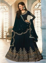 Navy Teal Blue Satin Georgette Swarovski Ankle-Length Salwar Suit