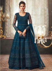 Dark Teal Blue Net With Can Can Salwar Suit