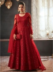 Dark Red Net With Can Can Salwar Suit