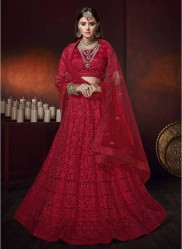 Red Net With Heavy Diamond Work Bridal Lehenga Choli