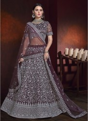Wine Net With Heavy Zarkan Work Bridal Lehenga Choli