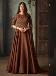 Dark Coffee Silk With Can Can Ankle-Length Salwar Suit