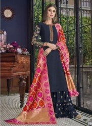 Dark Navy Blue Russian Silk Banarasi Dupatta Salwar Suit