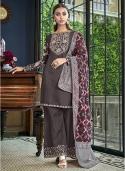 Dark Grape Satin Slub Banarasi Dupatta Salwar Suit