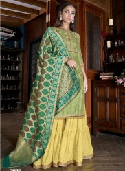 Light Green Silk Inner Santoon Banarasi Dupatta Salwar Suit