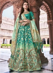 Sea Green & Mint Banarasi Silk Jacquard Lehenga Choli