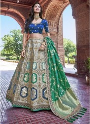 Sea Green & Blue Banarasi Silk Jacquard Lehenga Choli