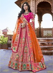 Orange & Pink Banarasi Silk Jacquard Lehenga Choli