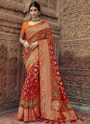 Red Pure Banarasi Silk Saree