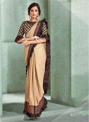 Cream Chinese Lycra Ready-To-Wear Saree