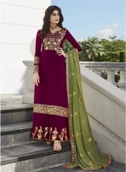 Dark Magenta Georgette Palazzo-Bottom Salwar Suit