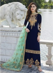 Dark Navy Blue Georgette Palazzo-Bottom Salwar Suit