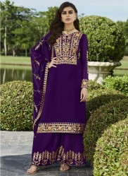 Dark Purple Georgette Palazzo-Bottom Salwar Suit