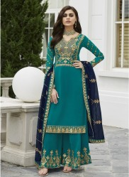 Dark Teal Blue Georgette Palazzo-Bottom Salwar Suit