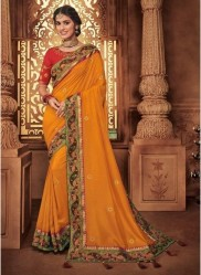 Orange Georgette Silk Embroidery Saree
