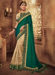Green & Cream Georgette Silk Embroidery Saree