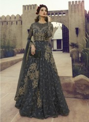 Dark Gray Net Anarkalis Salwar Suit