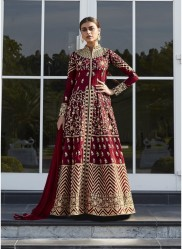 Maroon Mulberry Silk Salwar Suit