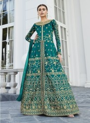 Sea Green Mulberry Silk Salwar Suit