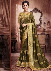 Olive Green Paithani Silk Saree