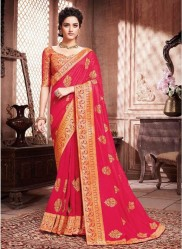 Ruby Pink Paithani Silk Saree