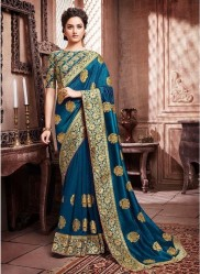 Dark Sky Blue Paithani Silk Saree