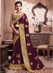 Wine Paithani Silk Saree