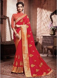 Dark Rose Red Paithani Silk Saree