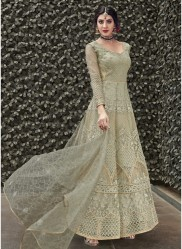 Sage Green Net With Embroidery Work Anarkali Suit