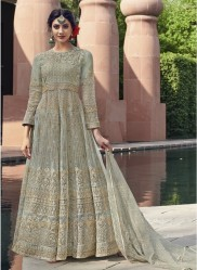 Sage Blue Net With Embroidery Work Anarklai Suit
