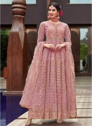 Flamingo Pink Net With Embroidery Work Anarkali Suit
