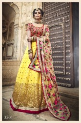 Lemon Soft Net Wedding Lehenga Choli