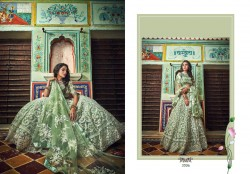 Sage Green Soft Net Wedding Lehenga Choli