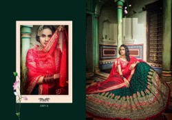 Green Soft Net Wedding Lehenga Choli